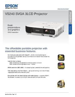 View VS240 SVGA 3LCD Projector Product Specifications PDF