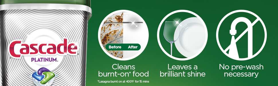 Cleans burnt-on food, leaves a brilliant shine, no pre-wash necessary