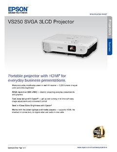 View Epson VS250 SVGA 3LCD Projector Product Specifications PDF