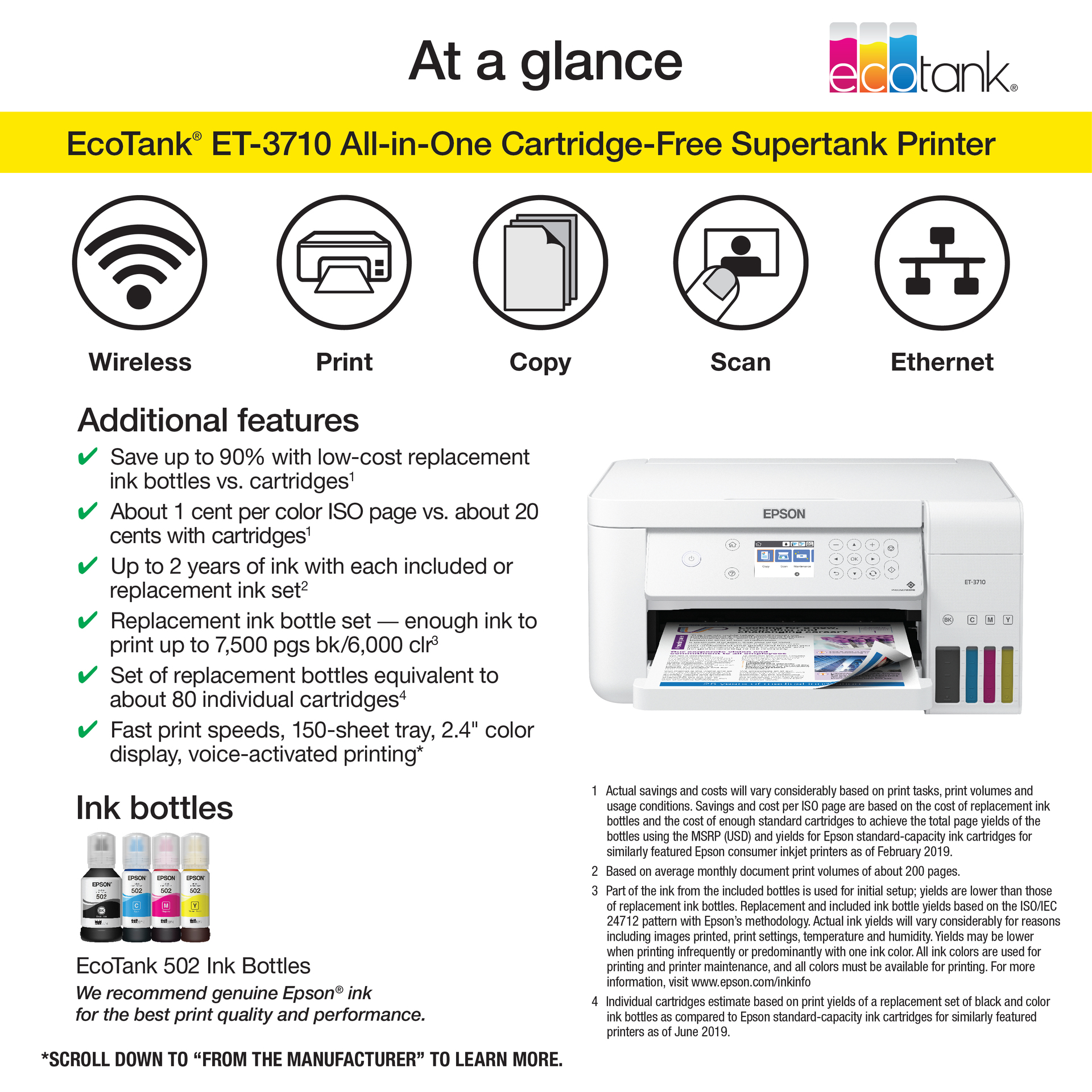 Epson EcoTank ET-3710 All-in-One Supertank Printer