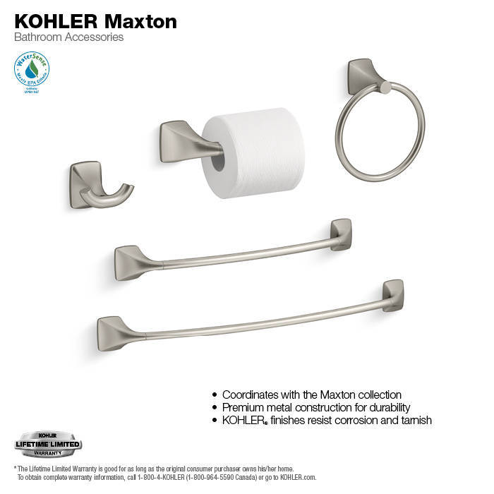 Shop KOHLER Maxton Brushed Nickel Wall Mount Towel Ring at Lowes.com
