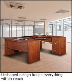 New U Shaped Office Executive Desk With Hutch Maple L