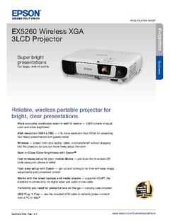 View Epson EX5260 Wireless XGA 3LCD Projector Product Specifications PDF