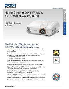 View Home Cinema 2045 Wireless 3D 1080p 3LCD Projector Product Specifications PDF