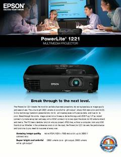 View PowerLite 1221 Product Specifications PDF