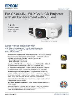 View Epson Pro G7400UNL WUXGA 3LCD Projector with 4K Enhancement without Lens Product Specifications PDF