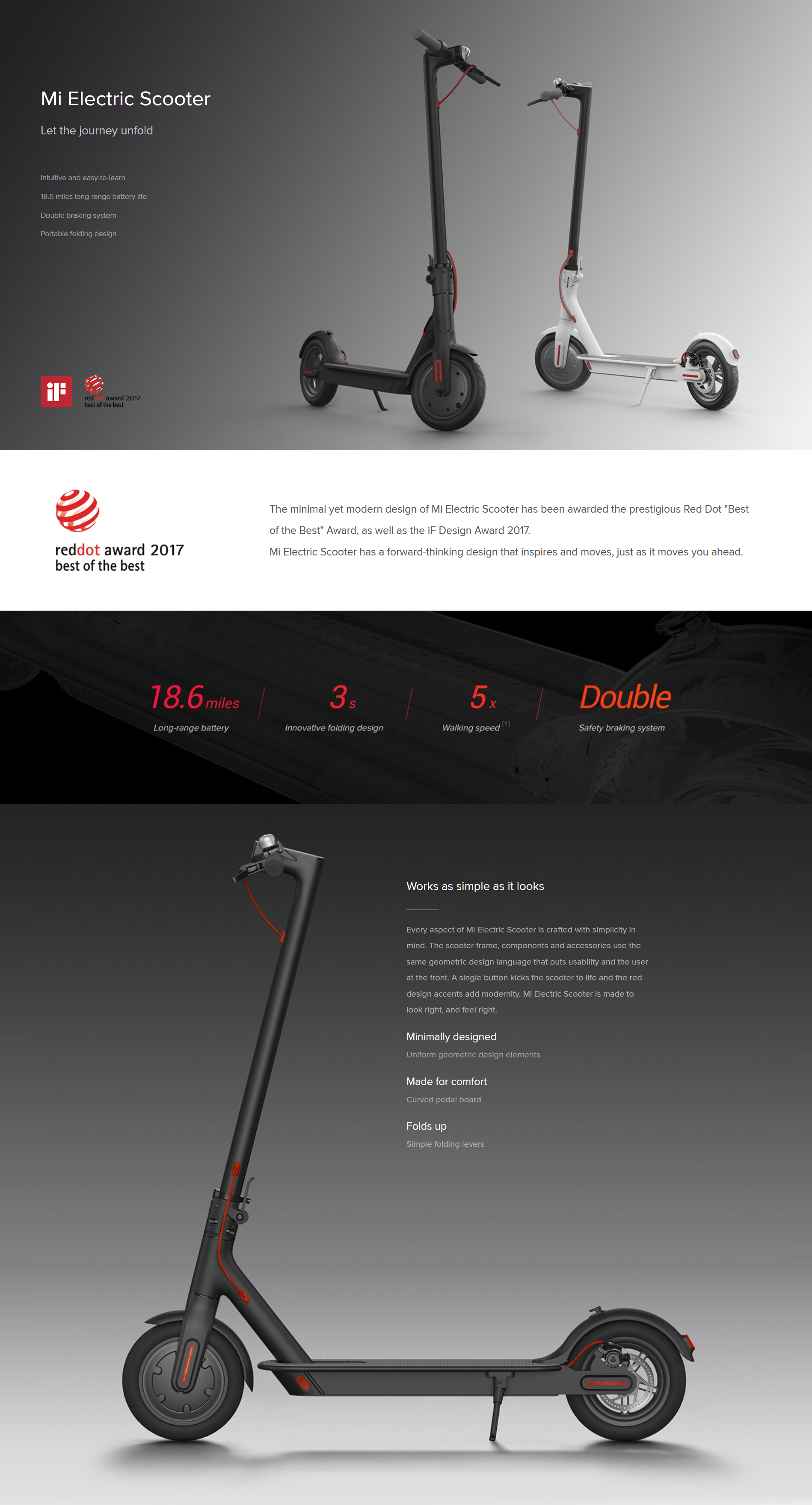 Xiaomi Mi Electric Scooter, 18 6 Miles Long-range Battery, Up to 15 5 MPH,  Easy Fold-n-Carry Design, Ultra-Lightweight Adult Electric Scooter