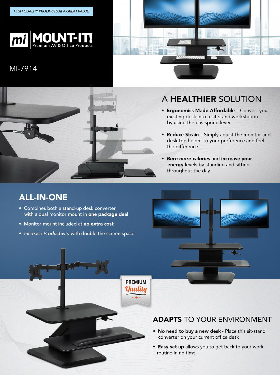 Mount-It! Standing Desk Converter with Dual Monitor Mount, Aluminum  (MI-7914)