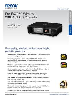 View Epson Pro EX7260 Wireless WXGA 3LCD Projector Product Specifications PDF