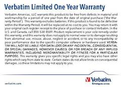 View Verbatim Limited One Year Warranty PDF