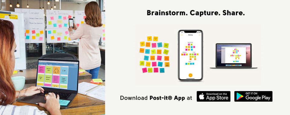 Post-it notes app can download from Apple Store and Google Play