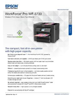 Epson WorkForce Pro WF-3733 Product Specifications