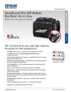 View WorkForce Pro WF-R4640 EcoTank All-in-One Product Specifications PDF