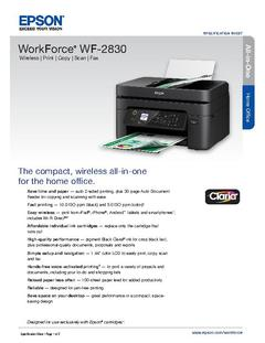 View Epson WorkForce WF-2830 Printer Product Specifications PDF