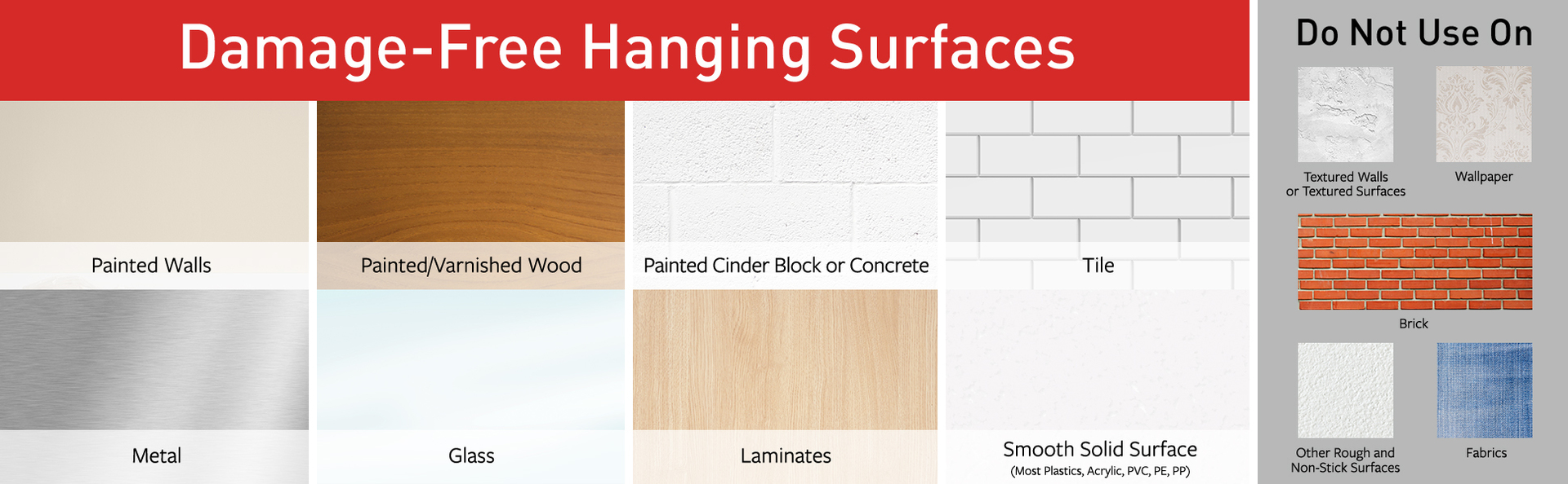 approved surfaces: Painted walls, wood, cinder block; Tile; metal; glass; laminates; smooth surface