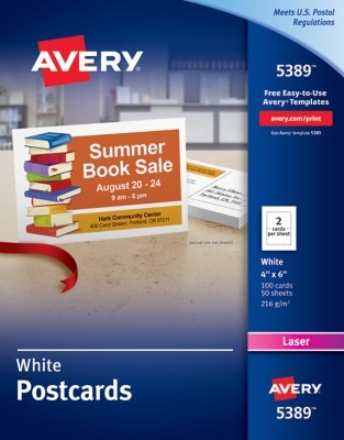 Avery Laser Post Cards X White Box Of By Office Depot - Avery 4x6 template
