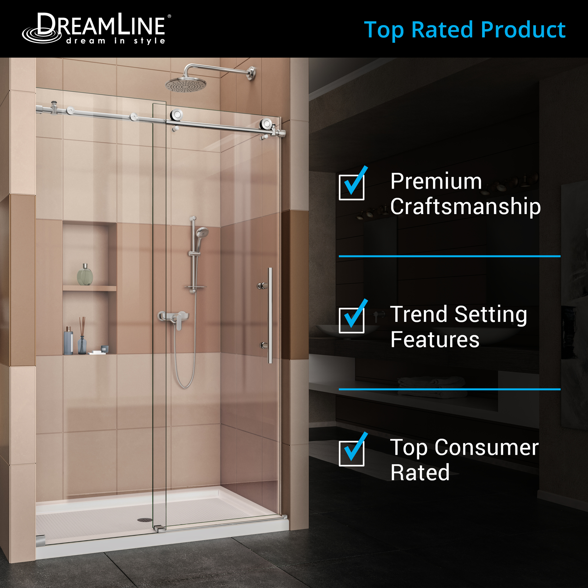 Enigma X 44 In To 48 W Frameless Byp Sliding Brushed Stainless Steel Shower Door