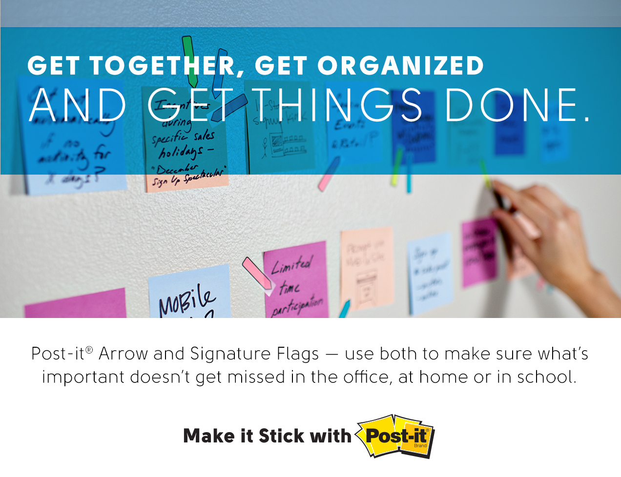 get together, organized, things done, arrow, signature flags, home, office, school