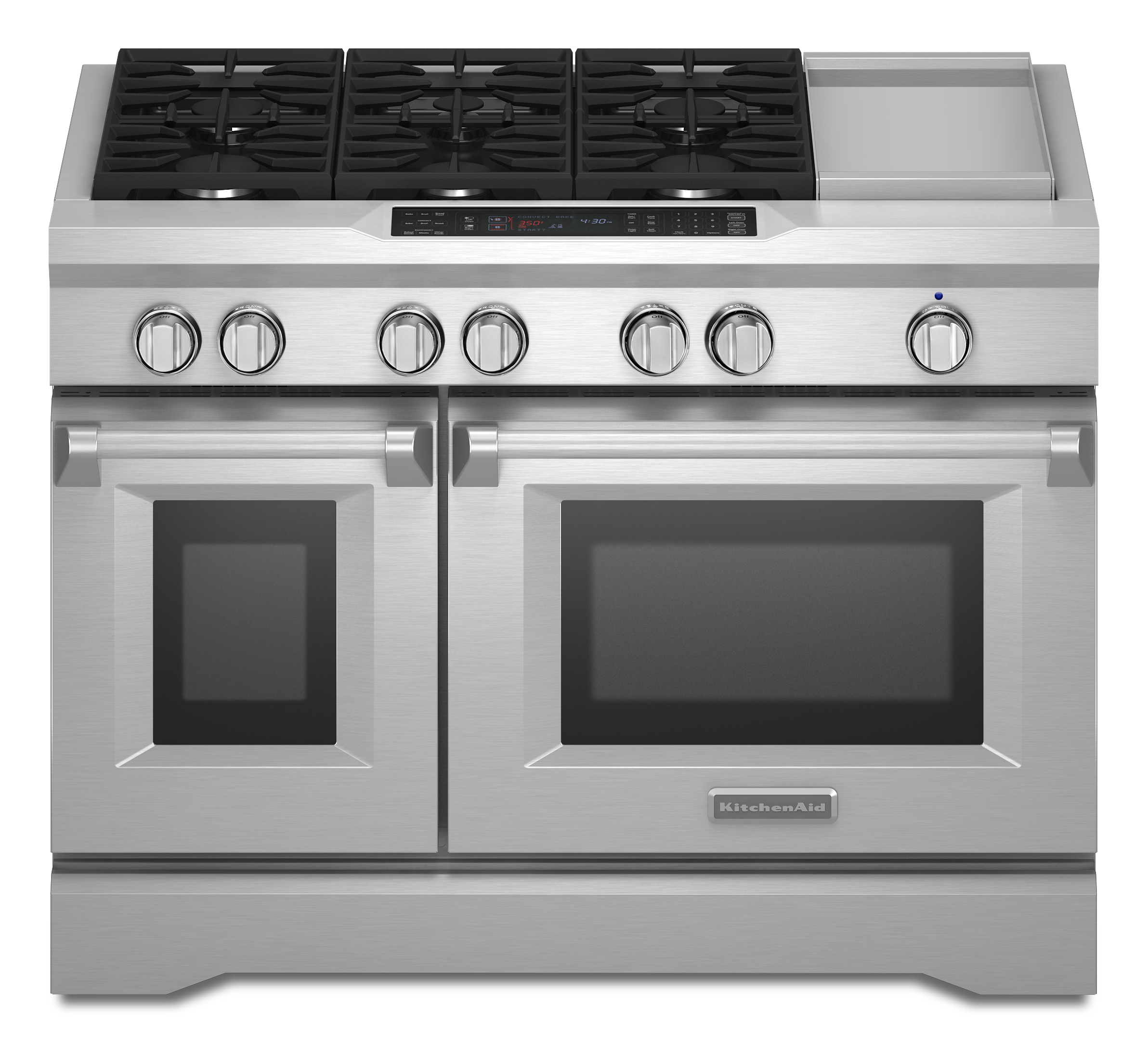 48-in 7-Burner 4.1-cu ft/2.2-cu ft Self-Cleaning Double Oven Convection  Dual Fuel Range (Stainless Steel)