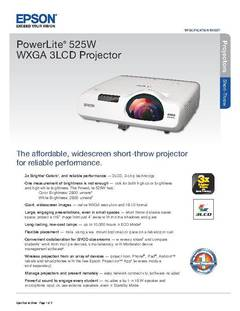 View PowerLite 525W Product Specifications PDF