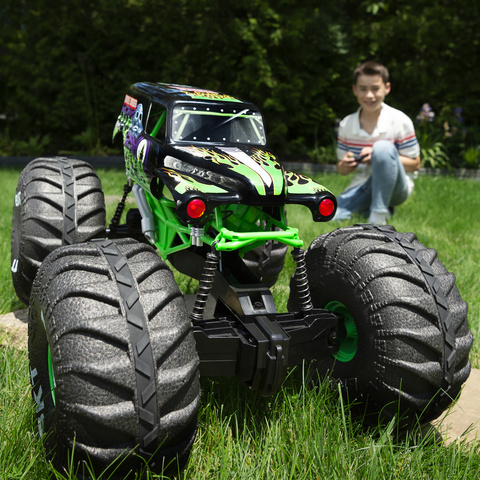 Monster Jam Official Mega Grave Digger All Terrain Remote Control Monster Truck With Lights 1 6 Scale Target