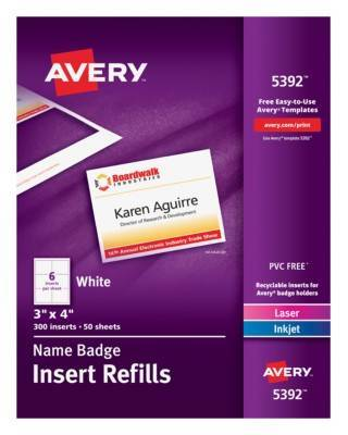 Averyr Name Badge Insert Refills 5392 3 X 4 Box Of 300