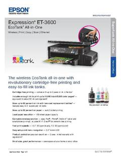 View Epson Expression ET-3600 EcoTank All-in-One Supertank Printer Product Specifications PDF