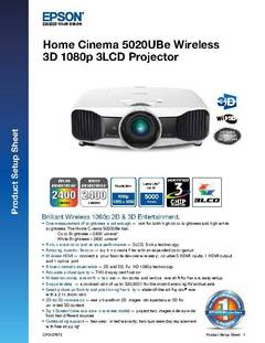 View Home Cinema 5020UBe Wireless Product Setup Sheet PDF