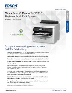 View Epson WorkForce Pro WF-C5210 Replaceable Ink Pack System Product Specifications PDF