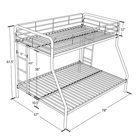 dorel twin over full metal bunk bed, multiple colors - walmart