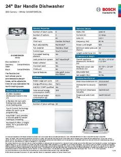 View Spec Sheet - Dishwasher - SHXM78W52N PDF