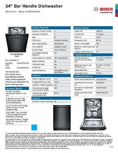 View Spec Sheet - Dishwasher - SHXM78W56N PDF