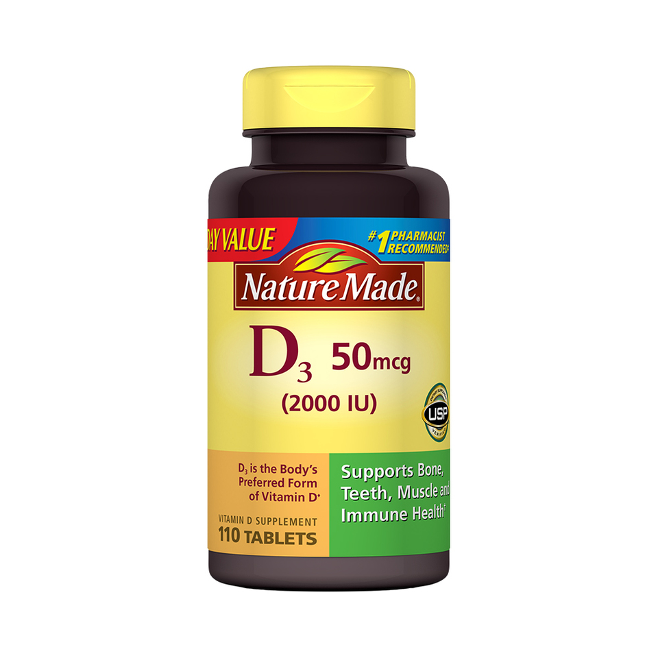 Nature Made Vitamin D3 Dietary Supplement Tablets, 2000 I.U., 110 ct ...