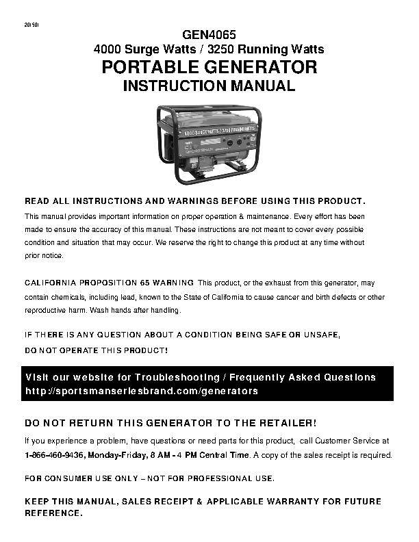 Generator Wattage Worksheet : Sportsman series gasoline watt portable generator