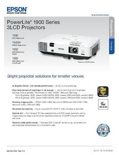 PowerLite 1960 Product Specifications - opens PDF