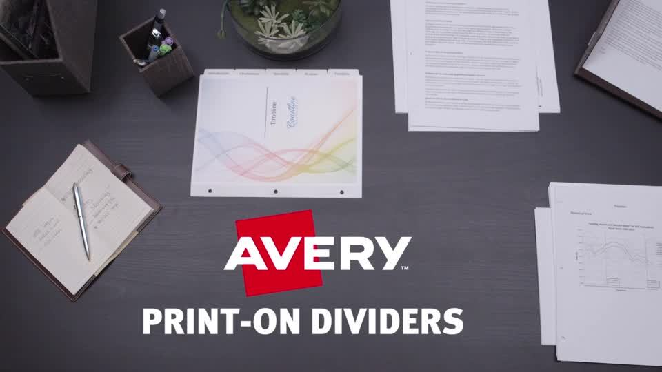Avery Print On Dividers 8 12 X 11 3 Hole Punched 5 Tab White DividersWhite Tabs Pack Of Sets By Office Depot OfficeMax