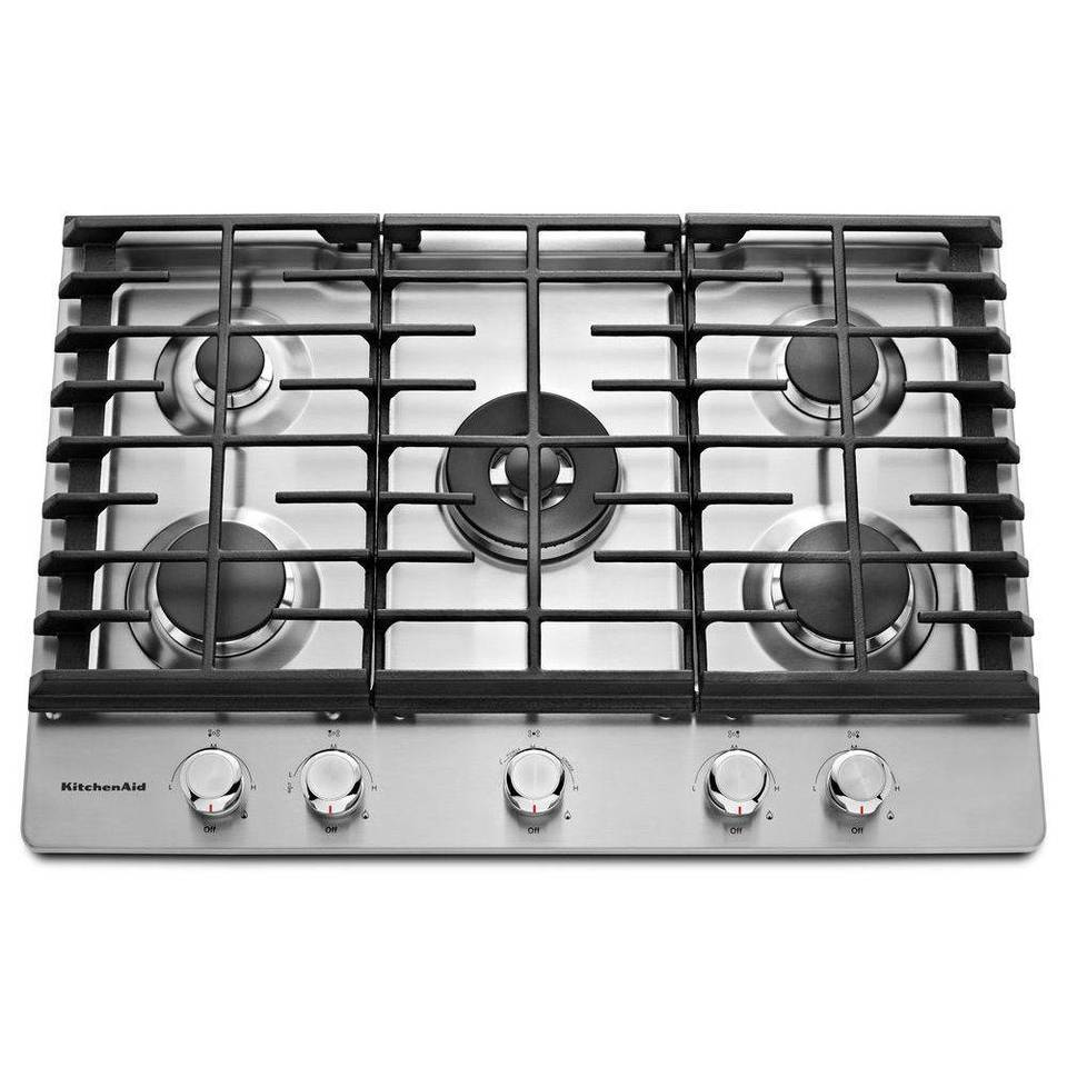 KitchenAid 5 Burner Gas Cooktop (Stainless Steel) (Common: 30 In