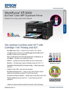 View Epson WorkForce ST-3000 EcoTank Color MFP Supertank Printer Product Specifications PDF