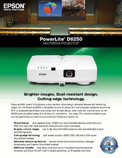 View PowerLite D6250 Detailed Product Specifications PDF