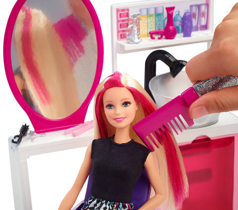 Style Barbie Doll S Hair With Glitter At The Sparkle Salon