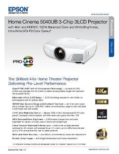 View Epson Home Cinema 5040UB 3LCD Projector with 4K Enhancement and HDR Product Specifications PDF
