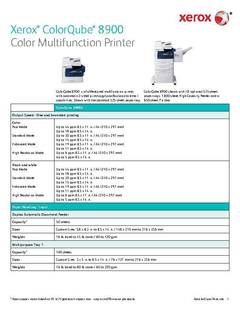 View Detailed Specifications - ColorQube 8900 (PDF) PDF