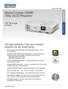 View Home Cinema 740HD 720p 3LCD Projector Product Specifications PDF