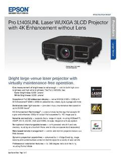 View Epson Pro L1405UNL Laser WUXGA 3LCD Projector with 4K Enhancement w/o Lens Product Specifications PDF