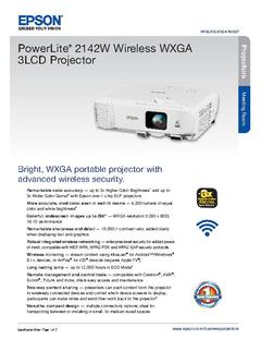 View Epson PowerLite 2142W Wireless WXGA 3LCD Projector Product Specifications PDF