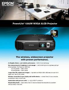 View PowerLite 1262W Product Specifications PDF