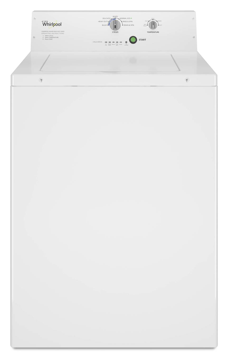 whirlpool commercial capacity top load commercial washer white