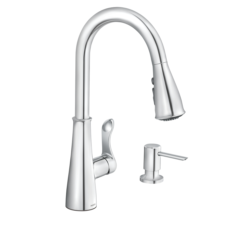 Moen Hadley Chrome 1 Handle Deck Mount Pull Down Handle Kitchen Faucet Deck Plate Included In The Kitchen Faucets Department At Lowes Com