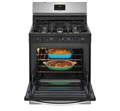Frigidaire Gas Freestanding Range: FFGF3052TS, Door open, Loaded