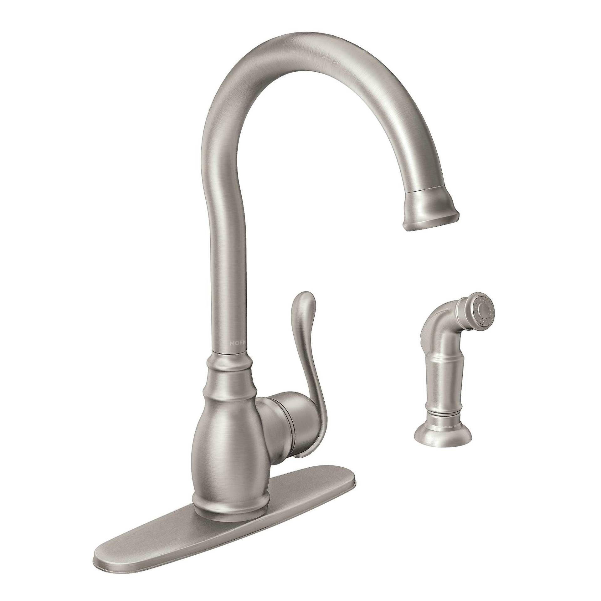 Anabelle Spot Resist Stainless 1 Handle Deck Mount High Arc Kitchen Faucet
